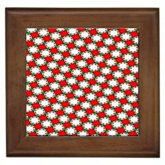 Christmas Star Red Green Framed Tiles