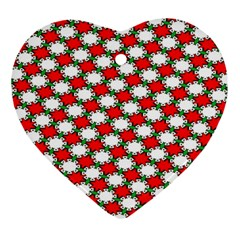 Christmas Star Red Green Ornament (heart)