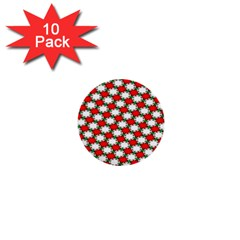 Christmas Star Red Green 1  Mini Buttons (10 Pack)