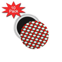 Christmas Star Red Green 1 75  Magnets (10 Pack)