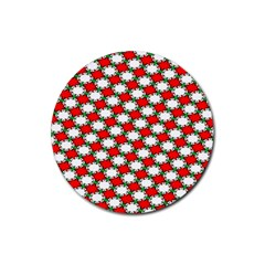 Christmas Star Red Green Rubber Coaster (round)