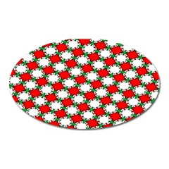 Christmas Star Red Green Oval Magnet