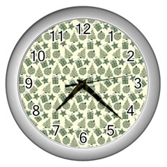 Christmas Pattern Gif Star Tree Happy Wall Clocks (silver)