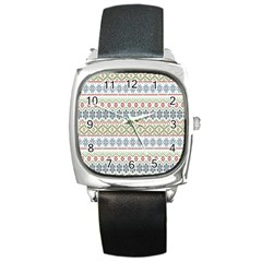 Christmas Star Flower Red Blue Square Metal Watch