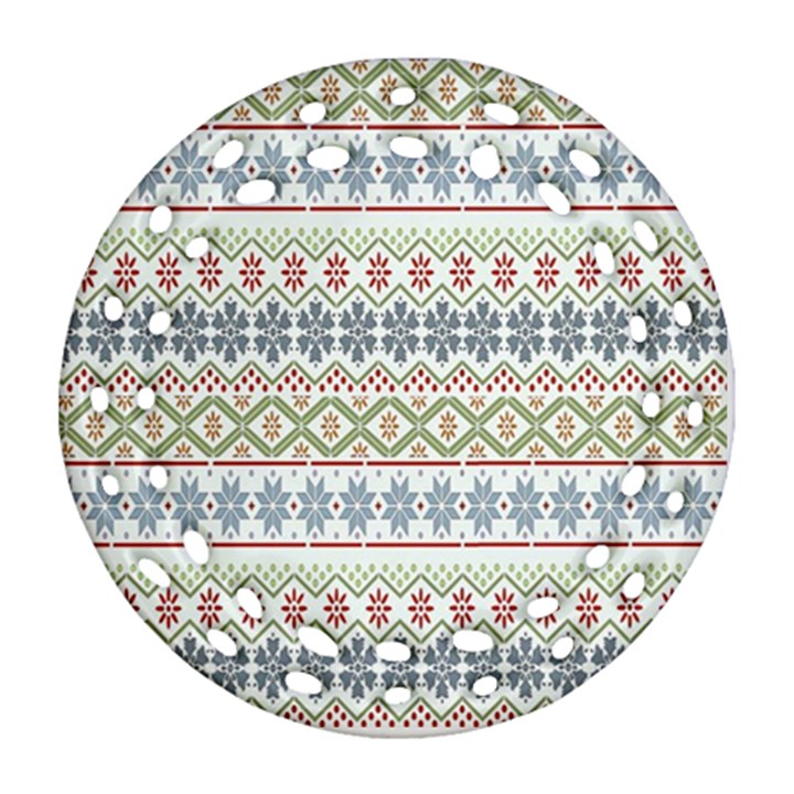 Christmas Star Flower Red Blue Ornament (Round Filigree)