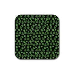 Christmas Pattern Gif Star Tree Happy Green Rubber Coaster (square)