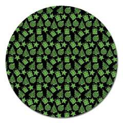 Christmas Pattern Gif Star Tree Happy Green Magnet 5  (round)