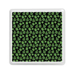 Christmas Pattern Gif Star Tree Happy Green Memory Card Reader (square)