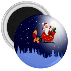 Deer Santa Claus Flying Trees Moon Night Merry Christmas 3  Magnets