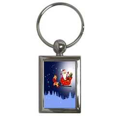 Deer Santa Claus Flying Trees Moon Night Merry Christmas Key Chains (rectangle)