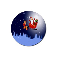 Deer Santa Claus Flying Trees Moon Night Merry Christmas Rubber Coaster (round)