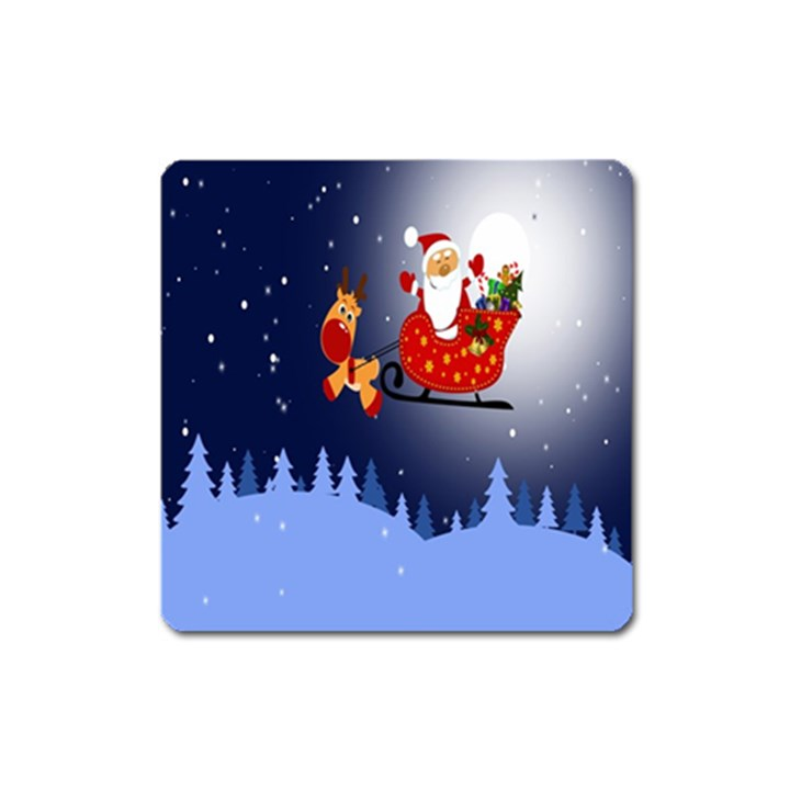 Deer Santa Claus Flying Trees Moon Night Merry Christmas Square Magnet