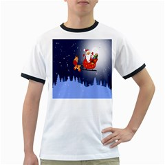 Deer Santa Claus Flying Trees Moon Night Merry Christmas Ringer T Shirts