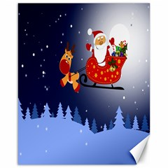 Deer Santa Claus Flying Trees Moon Night Merry Christmas Canvas 16  X 20