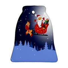 Deer Santa Claus Flying Trees Moon Night Merry Christmas Bell Ornament (two Sides)
