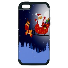 Deer Santa Claus Flying Trees Moon Night Merry Christmas Apple Iphone 5 Hardshell Case (pc+silicone)
