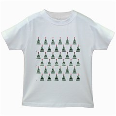 Christmas Tree Green Star Red Kids White T Shirts