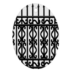 Inspirative Iron Gate Fence Grey Black Ornament (oval)
