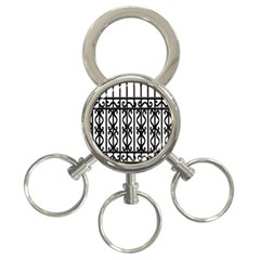 Inspirative Iron Gate Fence Grey Black 3 Ring Key Chains
