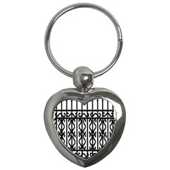 Inspirative Iron Gate Fence Grey Black Key Chains (heart)