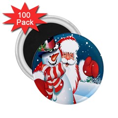 Hello Merry Christmas Santa Claus Snow Blue Sky 2 25  Magnets (100 Pack)