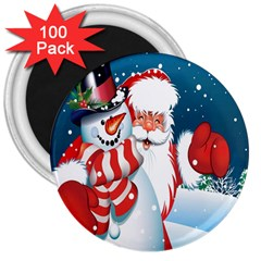 Hello Merry Christmas Santa Claus Snow Blue Sky 3  Magnets (100 Pack)