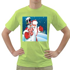 Hello Merry Christmas Santa Claus Snow Blue Sky Green T Shirt