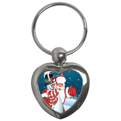Hello Merry Christmas Santa Claus Snow Blue Sky Key Chains (heart)