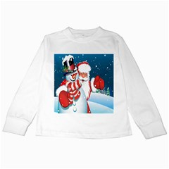 Hello Merry Christmas Santa Claus Snow Blue Sky Kids Long Sleeve T Shirts