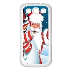 Hello Merry Christmas Santa Claus Snow Blue Sky Samsung Galaxy S3 Back Case (white)