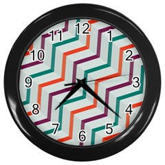 Line Color Rainbow Wall Clocks (black)