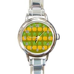 Fruite Pineapple Yellow Green Orange Round Italian Charm Watch