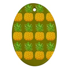 Fruite Pineapple Yellow Green Orange Oval Ornament (two Sides)