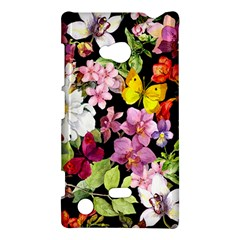 Beautiful,floral,hand Painted, Flowers,black,background,modern,trendy,girly,retro Nokia Lumia 720