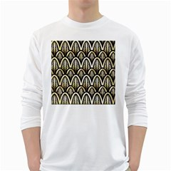 Art Deco White Long Sleeve T Shirts