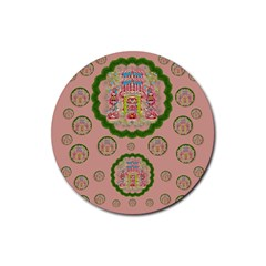 Sankta Lucia With Friends Light And Floral Santa Skulls Rubber Coaster (round)
