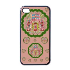 Sankta Lucia With Friends Light And Floral Santa Skulls Apple Iphone 4 Case (black)
