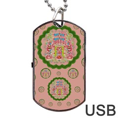 Sankta Lucia With Friends Light And Floral Santa Skulls Dog Tag Usb Flash (two Sides)