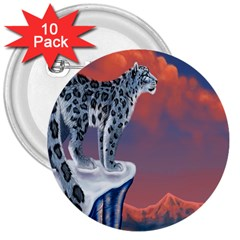 Lion Tigel Chetah Animals Snow Moon Blue Sky 3  Buttons (10 Pack)