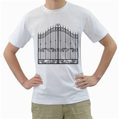 Inspirative Iron Gate Fence Men s T Shirt (white) (two Sided)