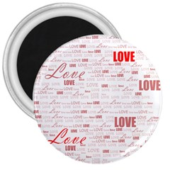 Love Heart Valentine Pink Red Romantic 3  Magnets