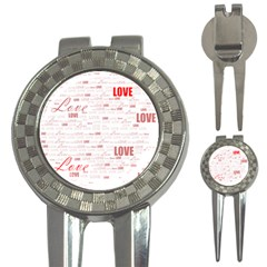 Love Heart Valentine Pink Red Romantic 3 In 1 Golf Divots