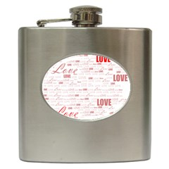 Love Heart Valentine Pink Red Romantic Hip Flask (6 Oz)