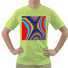 Pattern Rainbow Colorfull Wave Chevron Waves Green T Shirt