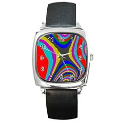 Pattern Rainbow Colorfull Wave Chevron Waves Square Metal Watch