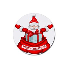 Merry Christmas Santa Claus Rubber Round Coaster (4 Pack)