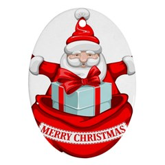 Merry Christmas Santa Claus Oval Ornament (two Sides)