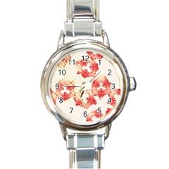 Pattern Flower Red Plaid Green Round Italian Charm Watch