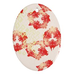 Pattern Flower Red Plaid Green Ornament (oval)