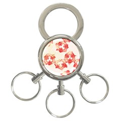 Pattern Flower Red Plaid Green 3 Ring Key Chains